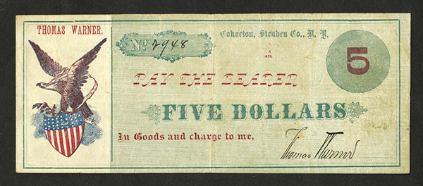 Thomas Warner, 1876 Obsolete Scrip Note.