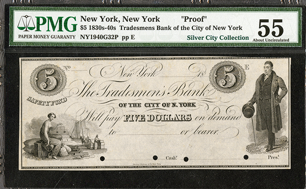 Tradesmen's Bank ca.1830's Obsolete Proof.