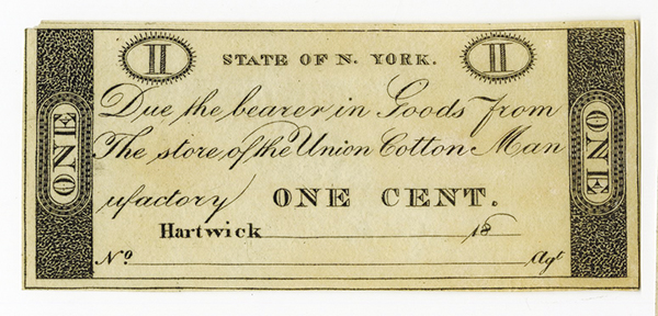 Union Cotton Manufactury, 18xx (ca.1810-20) Remainder Scrip Note.