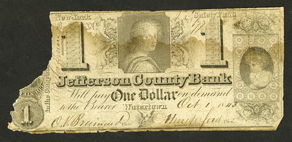 Watertown County Bank, 1843 Obsolete Banknote.