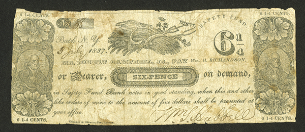William Hubbell, 1837, 6 Pence = 6 1/4 cents, Scrip Note.