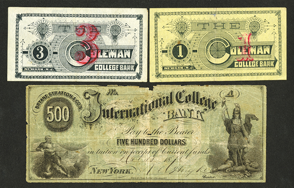 New York and New Jersey College Currency Trio, ca. 1870-90's.