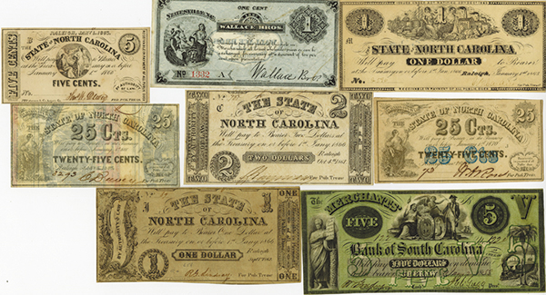 North Carolina & South Carolina Obsolete Banknote Assortment.