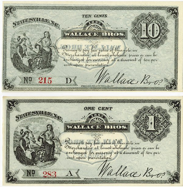 Wallace Brothers 1882 Scrip Note Pair.