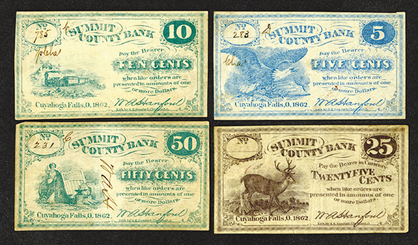 Summit County Bank. 1862 Issued Obsolete Scrip Note Quartet