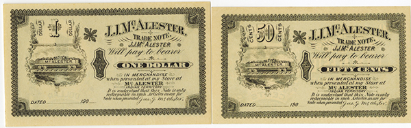 J.J.Mc.Alester, ca. 1900 Remainder Scrip Note Pair.