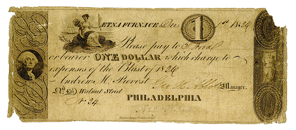 Aetna Furnace, 1826 (Blast of 1826) Issued Obsolete Banknote.