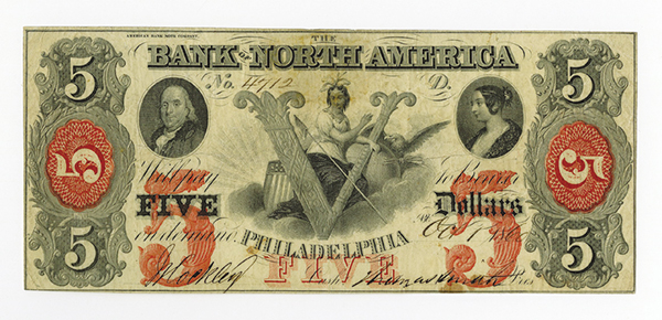 Bank of North America, 1860 Issued Obsolete Banknote.