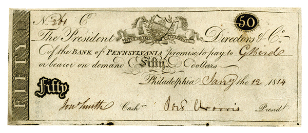 Bank of Pennsylvania, 1814 Issued Obsolete Banknote.