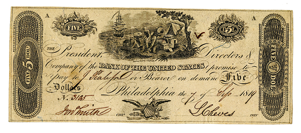 Bank of the United States, 1819 Issued Obsolete Banknote.