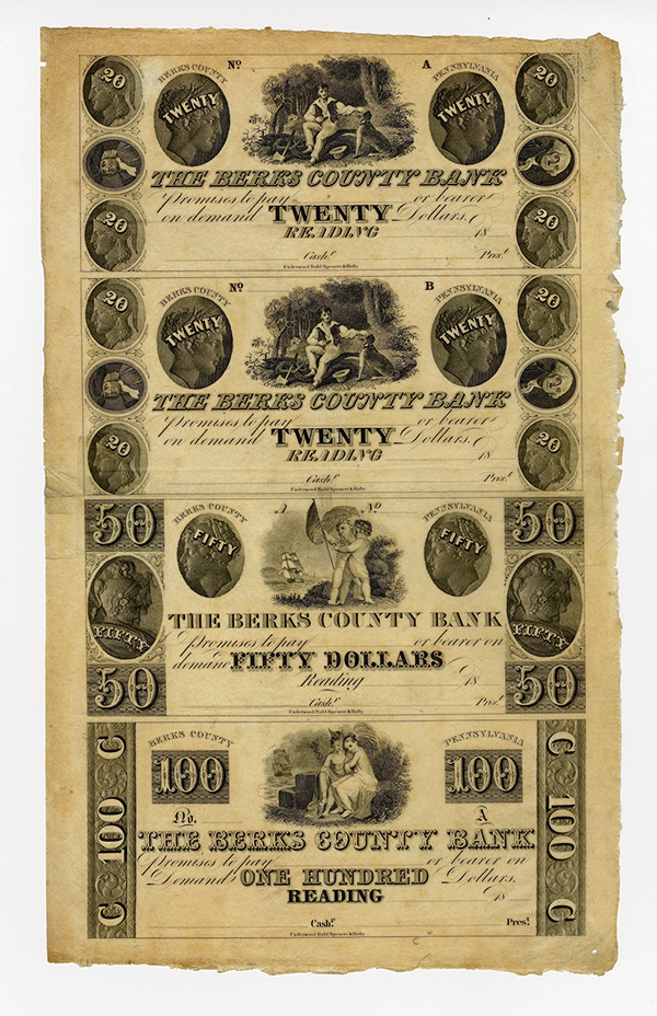 Berks County Bank, 18xx (ca.1830-40's) Uncut Remainder Obsolete Sheet of 4.