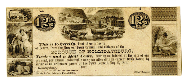 Borough of Hollidaysburg, 1841 Remainder Obsolete Scrip Note.