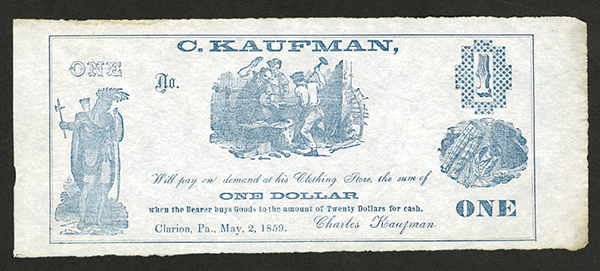 C. Kaufman, 1859 Scrip Note or Advertising Coupon.