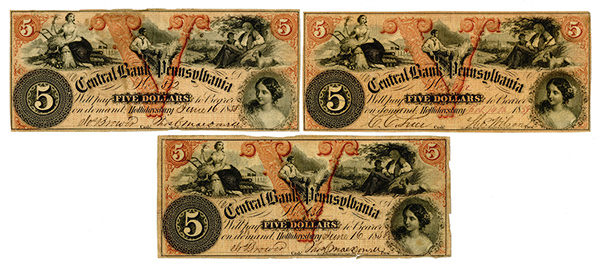 Central Bank of Pennsylvania, 1858 & 1859 Issued Obsolete Banknote Trio.