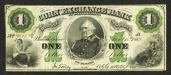 Corn Exchange Bank of Philadelphia, 1862 Obsolete Banknote.