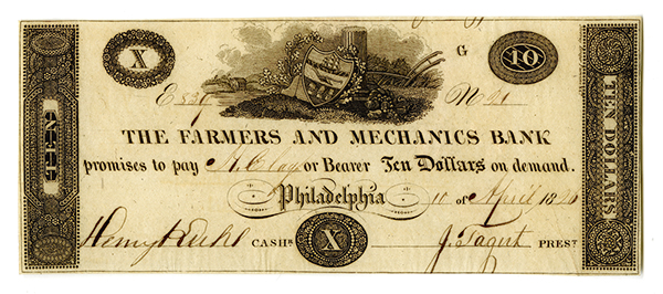 Farmers and Mechanics Bank, 1826 Issued Obsolete Banknote.
