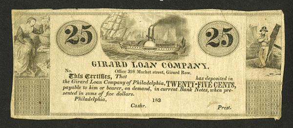 Girard Loan Company, 183x (1837) Remainder Scrip Note.
