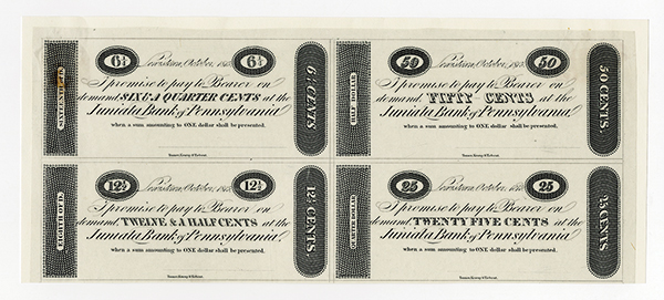 Juniata Bank of Pennsylvania, 1815 Uncut Sheet of 4 proof Notes.