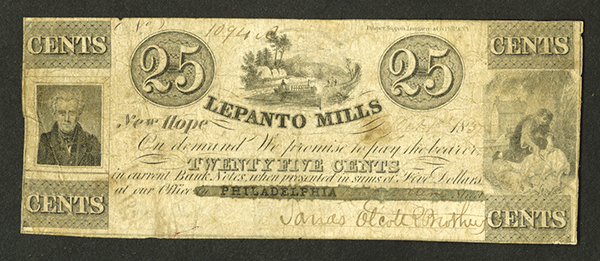 Lepanto Mills, 1837 Obsolete Scrip Note.