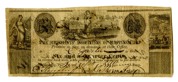 Merchants' Association of Martinsburg, 1838 Issued Obsolete Banknote.