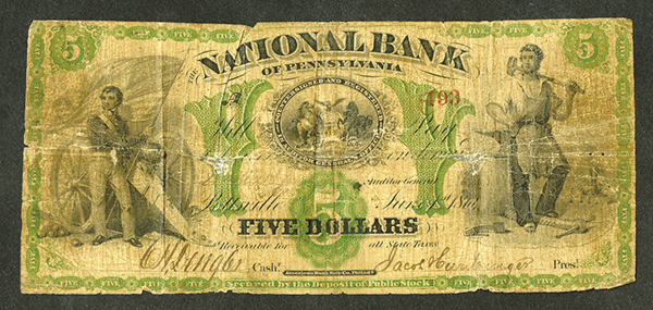 National Bank of Pennsylvania, 1861 (4?) Issued Obsolete Banknote.