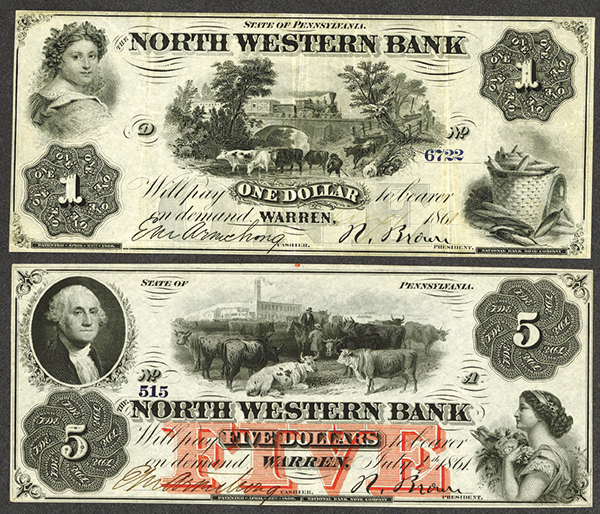 North Western Bank, 1861 Obsolete Banknote Pair.