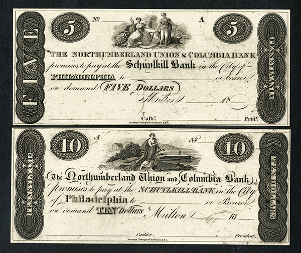 Northumberland Union & Columbia Bank Payable at the Schuylkill Bank, $5 and $10 Obsolete Banknote Reprint Proof Pair.