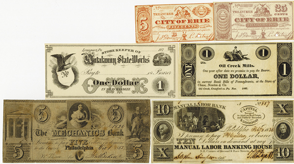 Pennsylvania and Obsolete Banknote & Scrip Note Assortment.