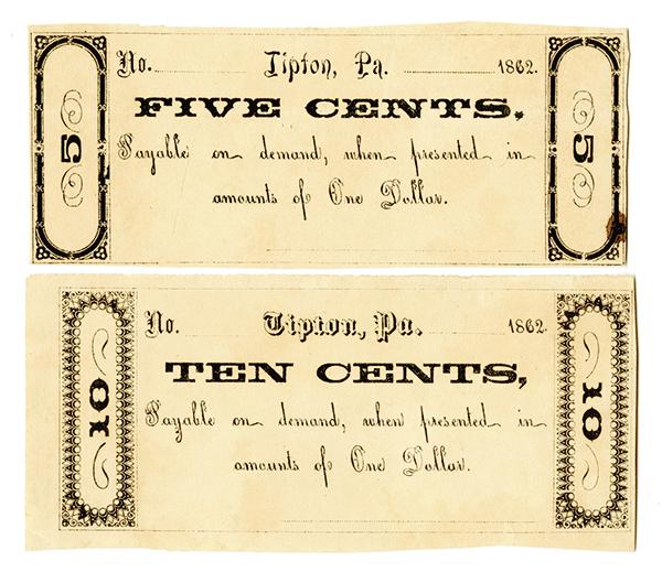 Tipton, Pennsylvania Generic Merchant Scrip, 1862 unissued Pair.