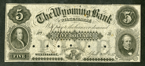 Wyoming Bank of Wilkes-Barre, 1856 Specimen or Unissued Remainder Note.