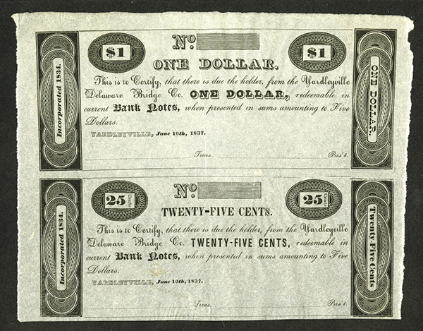 Yardleyville Delaware Bridge Co., 1837 Uncut Obsolete Remainder Scrip Note Pair.