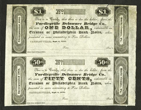 Yardleyville Delaware Bridge Co., 1837 Uncut Obsolete Remainder Scrip Note Pair.