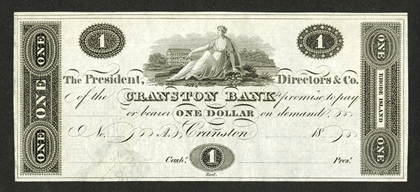 Cranston Bank, ca. 1820's Proof Obsolete Banknote.
