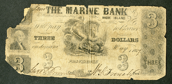 Marine Bank, 1857 Issued Obsolete Banknote.