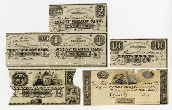 Rhode Island Proof Banknotes and Banknote Remnants ca.1830-40's.