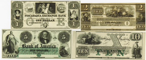Rhode Island & New Hampshire Obsolete Banknote Remainder Quartet.
