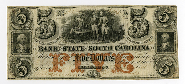Bank of the State of South Carolina, 1861 Obsolete Banknote.