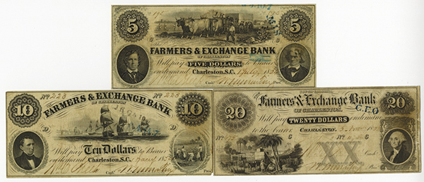 Farmers & Exchange Bank of Charleston, 1853-54 Issue Banknote Trio.