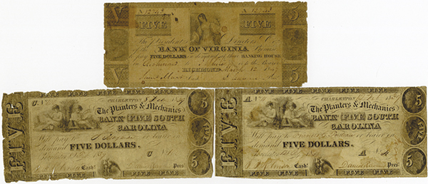 Southern Obsolete Banknote Trio.