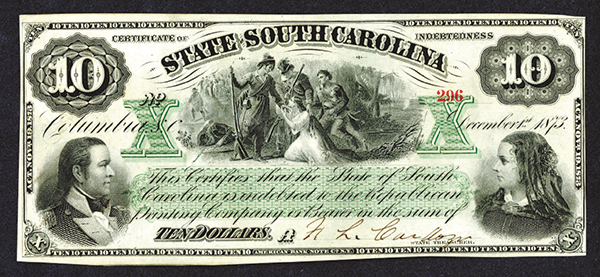 State of South Carolina, 1873 Certificate of Indebtedness.