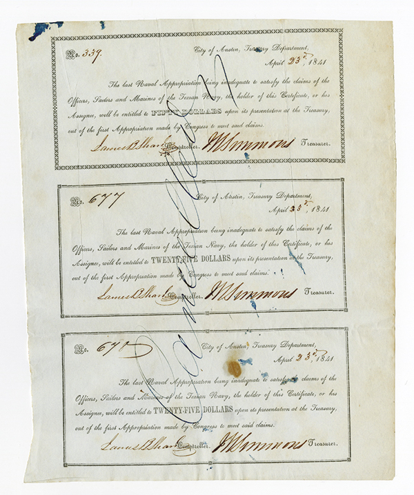 Republic of Texas Naval Appropriation Warrant, 1841 Uncut Sheet of 3 Notes.