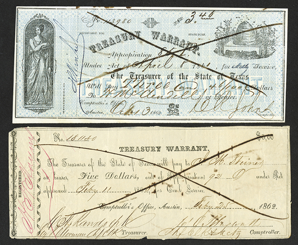 Treasury Warrants for Civil Service 1860-64 Issue Pair.