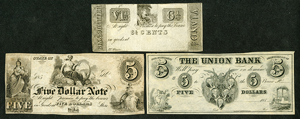 Generic  Scrip Note Trio, ca. 1837 to 1850's.