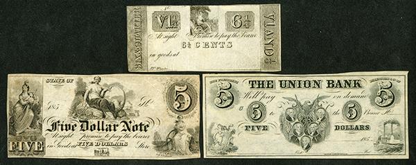 Generic Scrip Note Trio, ca. 1837 to 1850's.