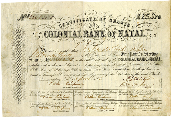 Colonial Bank of Natal, 1862 Issued Share Certificate.