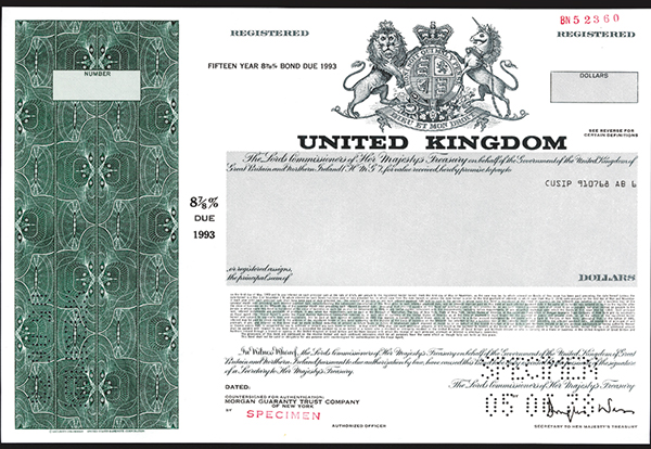 United Kingdom, 1978 Specimen Bond
