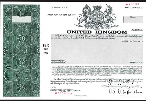 United Kingdom, 1978 Specimen Bond