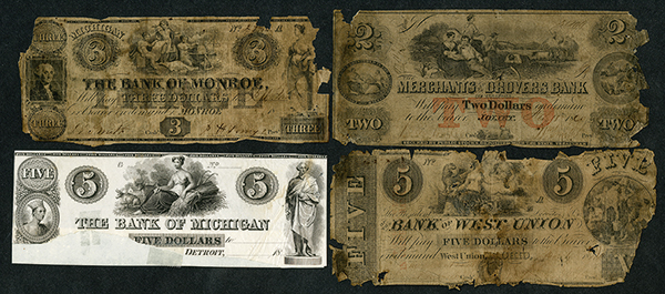 Midwest Obsolete Banknote Quartet with faults.