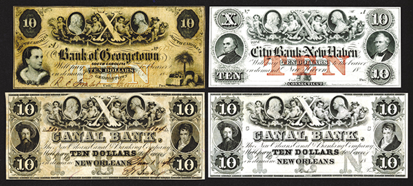 Obsolete Banknote Quartet with Similar Upper Vignette of Washington and Franklin at top.