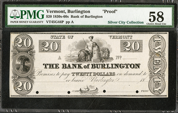 Bank of Burlington ca.1830's Obsolete Proof.